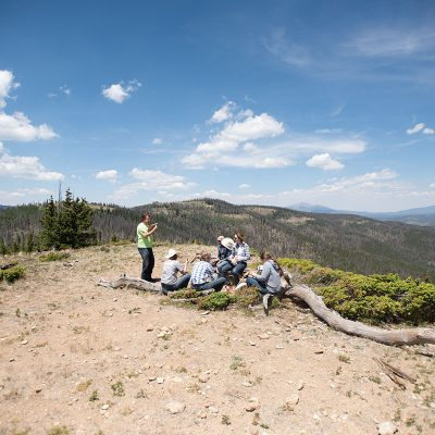 People enjoying a relaxing afternoon on the mountainside