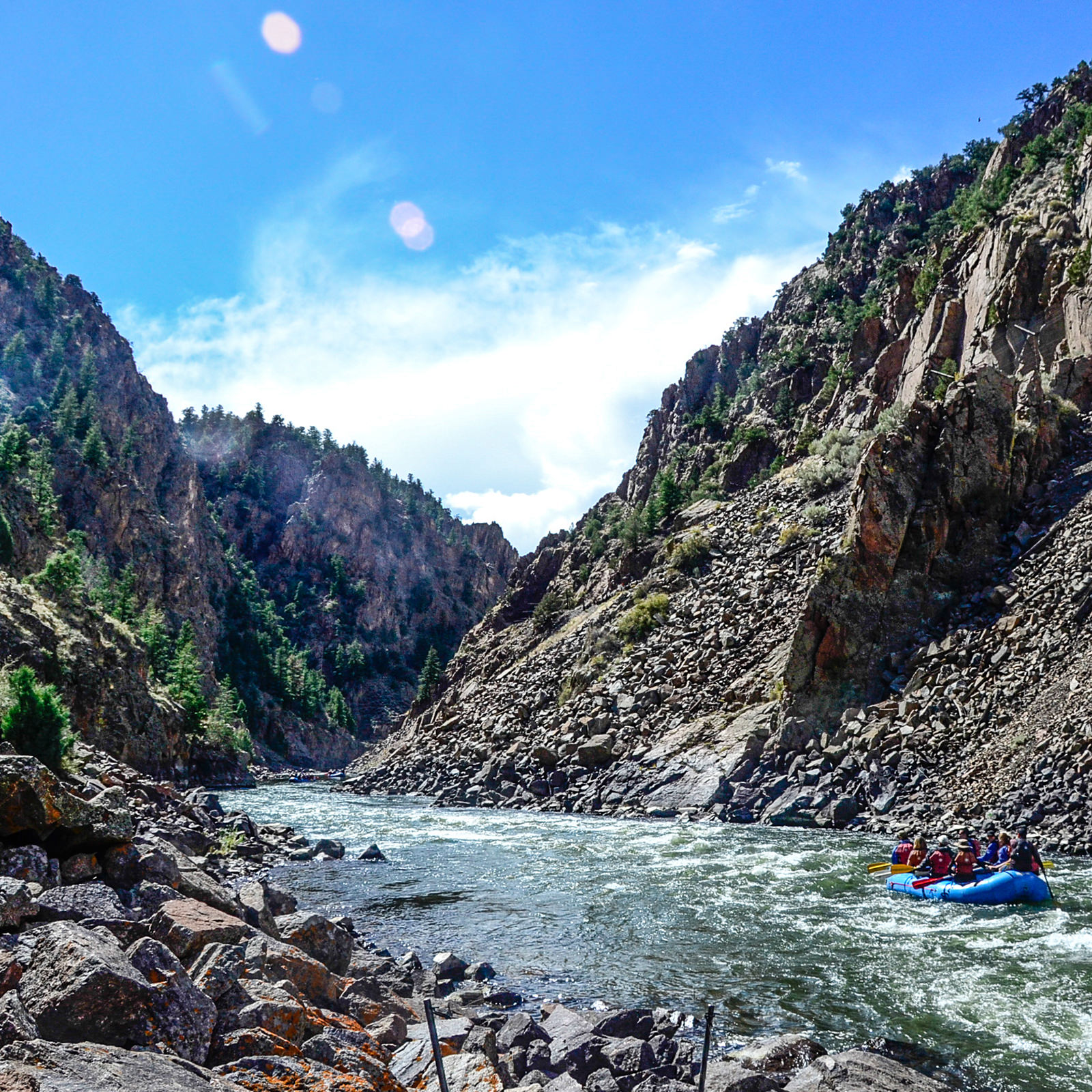 Scenic river rafting in the canyon