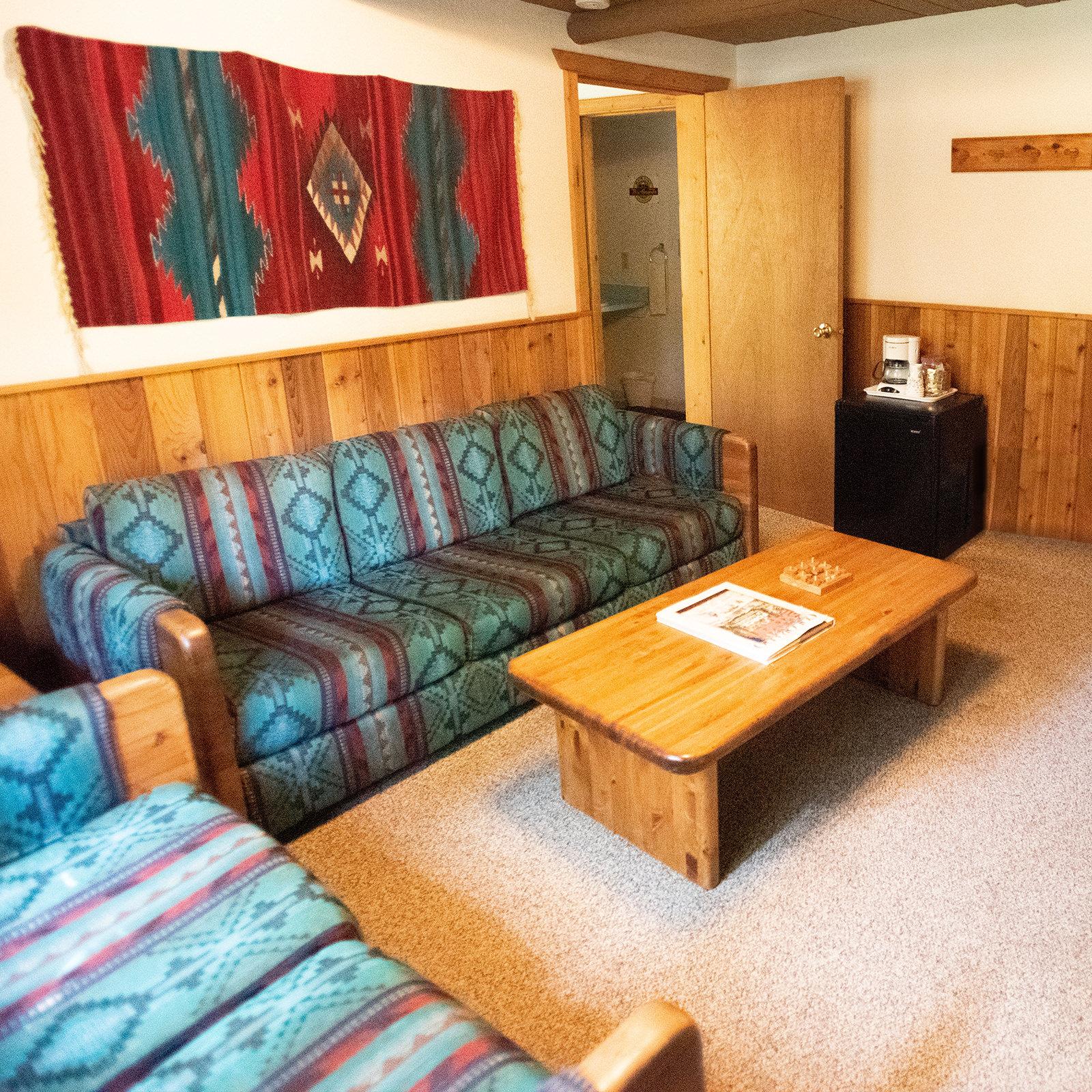A cozy cabin living room