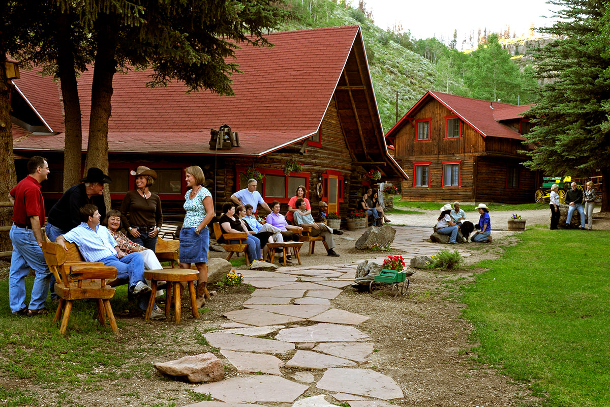 folks outside the lodge at Drowsy Water Ranch