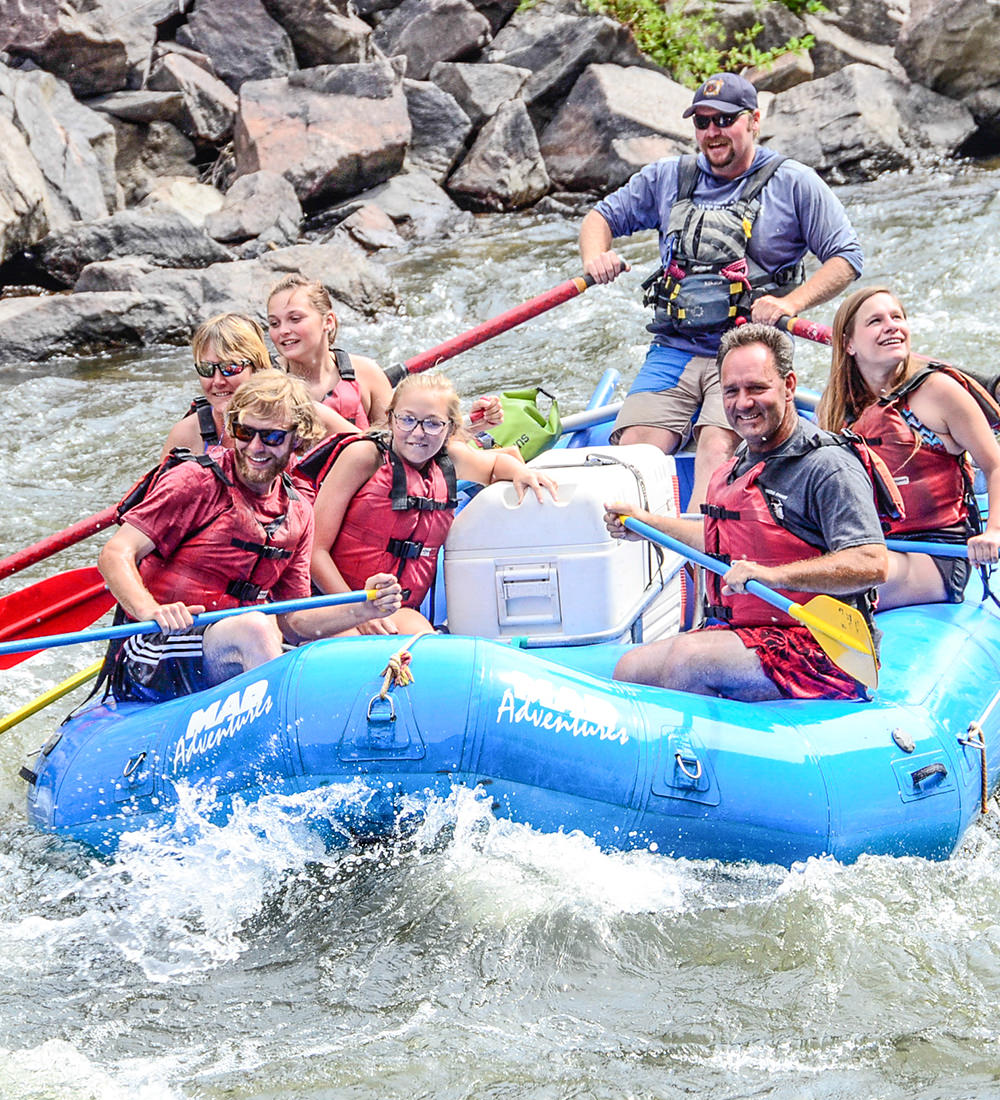 group action shot rafting the Colorado River near Drowsy Water Ranch